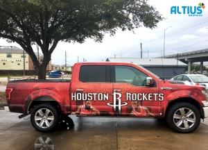 custom houston rockets truck wrap