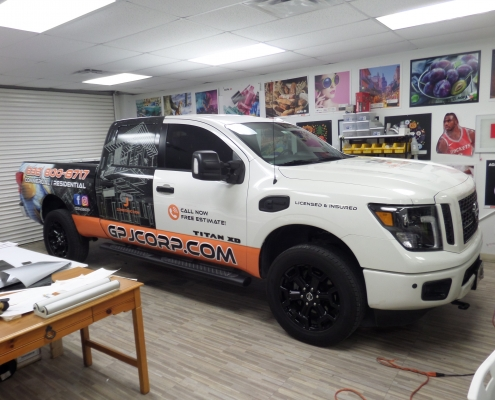 partial truck wrap in house truck wrap