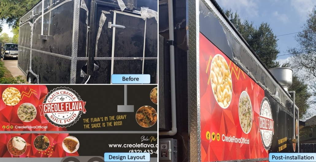 before and after photos of creole flava food truck wrap in houston by ALTIUS Graphics